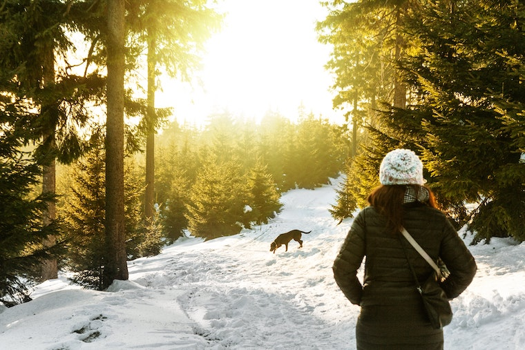woman hiking with dog in snow