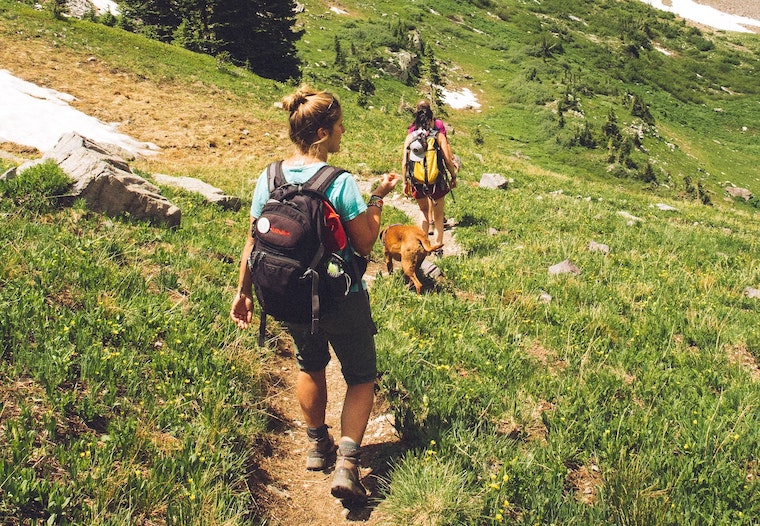 women hiking with dog